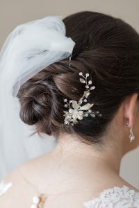 Crimson Wedding Hair at Hotel du Pont